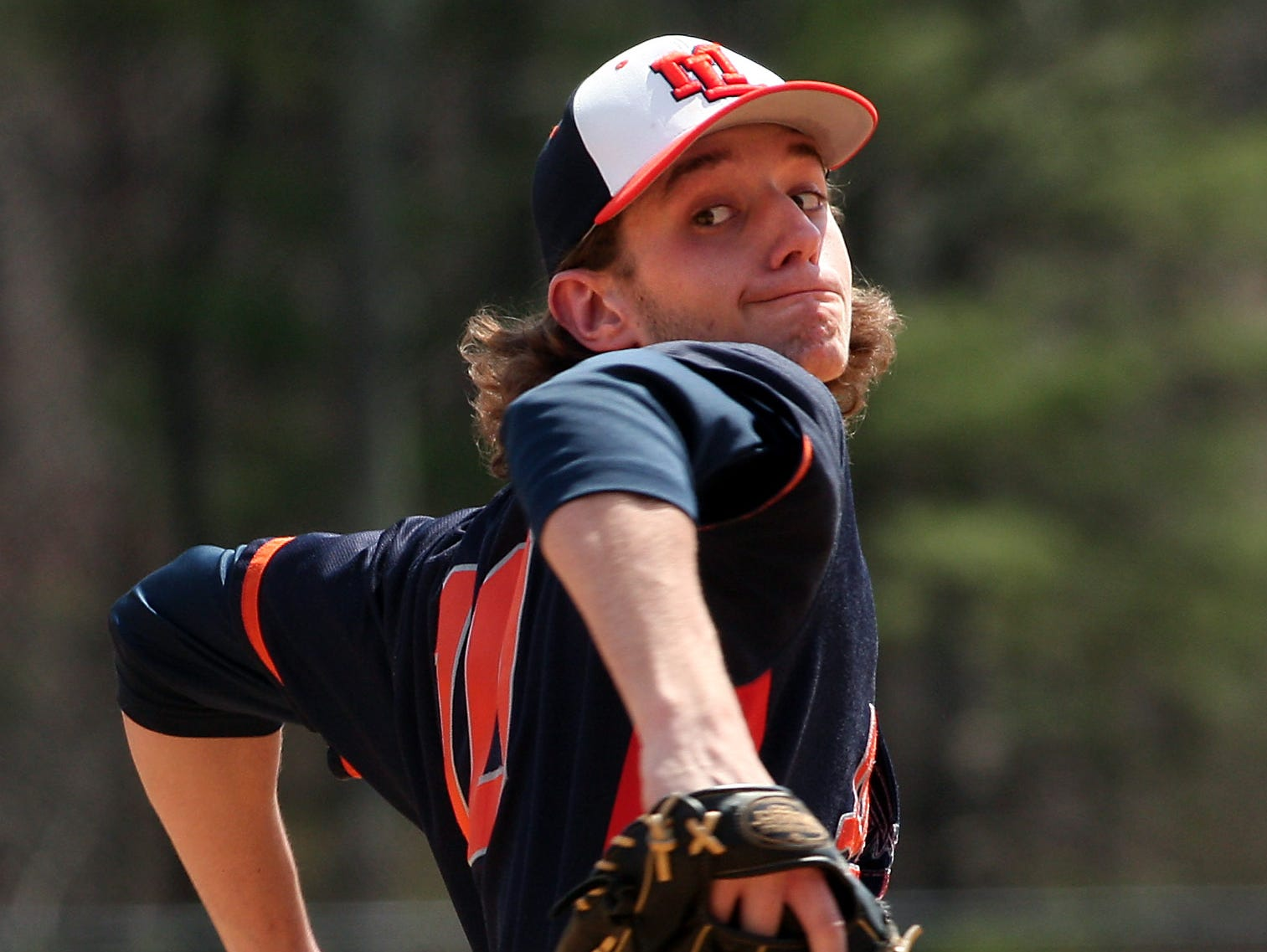 Mountain Lakes senior Kevin Stewart pitches against Morris Knolls in a MCT prelim.