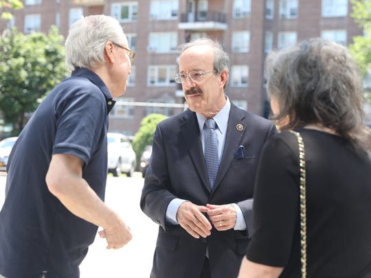 U.S. Rep. Eliot Engel greets well wishers as he arrives