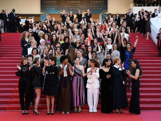 The 82 women who joined hands at Eva Husson's premiere of 'Girls Of The Sun' included female directors, actresses and industry professionals.