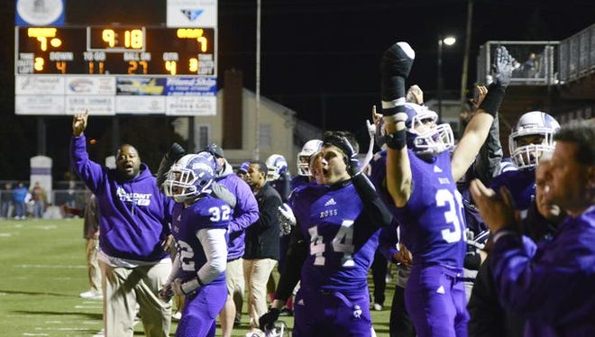 The Fremont Ross football celebrates a fourth-quarter touchdown against Oregon Clay last week. Ross won the game 28-14.