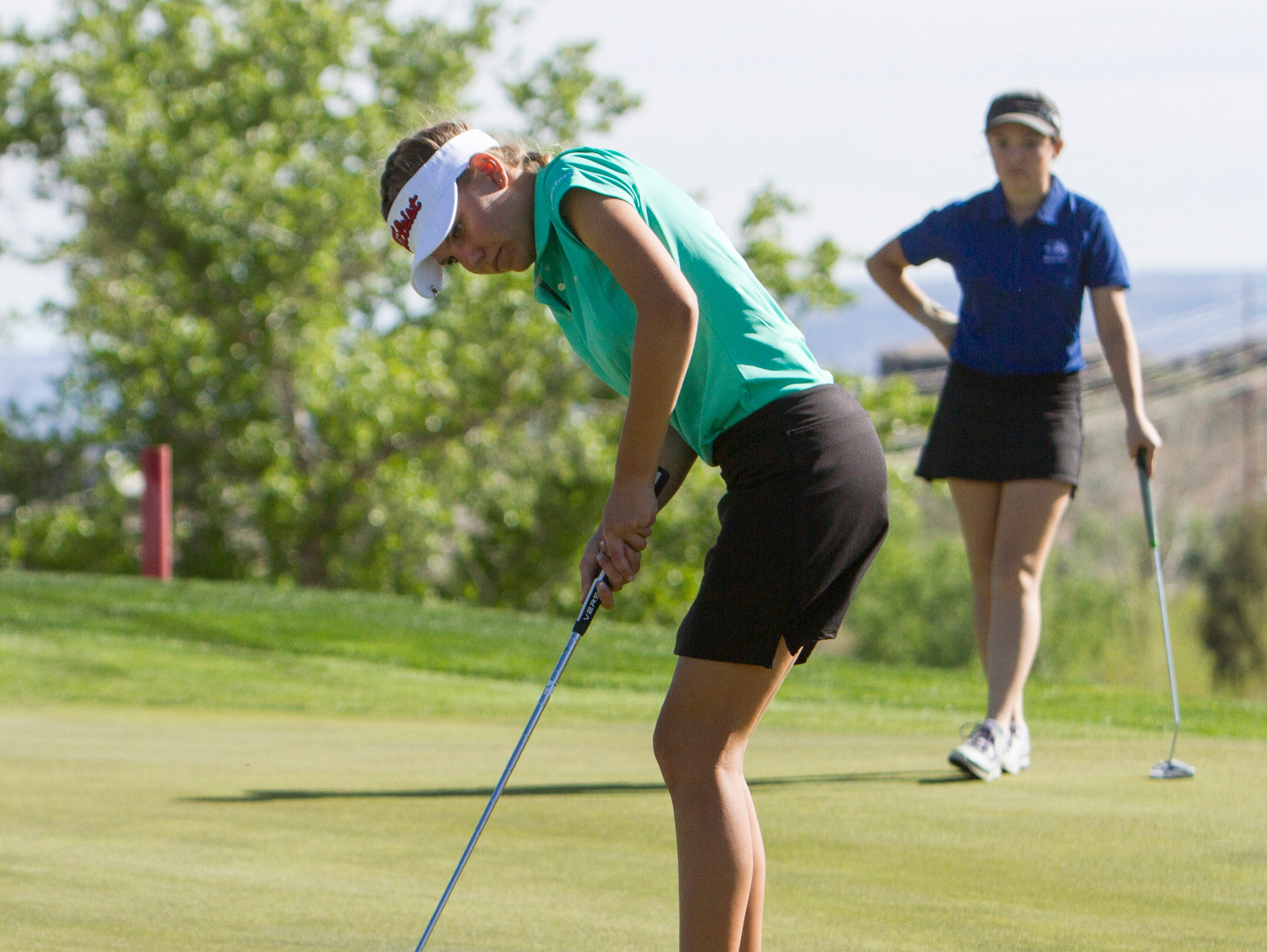 Snow Canyon's Lexi Hamel putts at Sunbrook on Thursday. Hamel finished in a three-way tie for second-place.