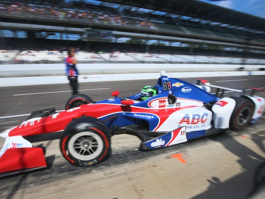 Conor Daly pulls out of the pits during qualifying laps on May 26, 2017, at the Indianapolis Motor Speedway.