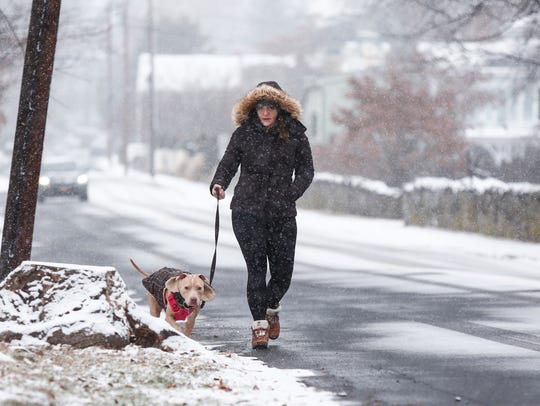Marcella Mazzeo walks her dog Lexi along Piermont Ave