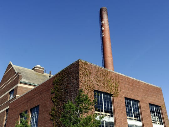 The old Michigan State College smokestack on Michigan