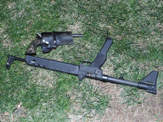 The weapons Damion McRae allegedly possessed at the time of the shooting of police officer Kenneth Grubbs.