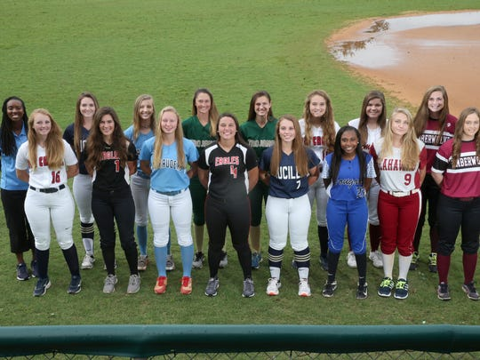 The 2017 All-Big Bend softball first team. Back row,