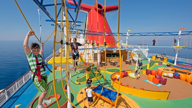 The kids will never miss gym class when they can spend hours at sea climbing the SkyCourse, a rope course aboard the Carnival Breeze, as well as a few of the cruise line's other ships.