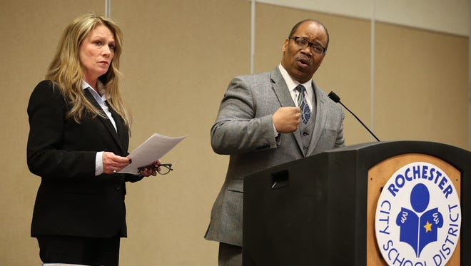 Van White, president of the Rochester City School District Board of Education, speaks at a news conference regarding the death of Trevyan Rowe as RCSD Superintendent Barbara Deane-Williams looks on Tuesday afternoon.