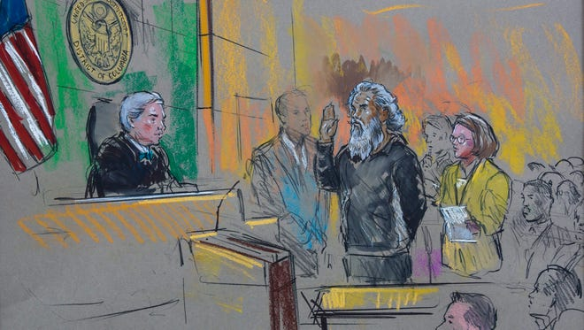 A courtroom sketch shows Ahmed Abu Khattala (C-R), the suspected leader of the 2012 terror attack against the US consulate in Benghazi, Libya, being arraigned in Washington, DC, USA, 28 June 2014. Looking on is Khattala's court appointed lawyer, Michele Peterson (R). One of the alleged masterminds behind the deadly 11 September 2012, attack on the US consulate in Benghazi, Libya, pled not guilty in a federal court in Washington on 28 June, according to ABC News. Ahmed Abu Khattala, the founder of the Libyan Islamist group Ansar al-Sharia, faces charges in the death of US ambassador Christopher Stevens and three other Americans killed in the attack. Khattala was captured in Libya by US special forces two weeks ago and was delivered to the US aboard a Navy vessel.
