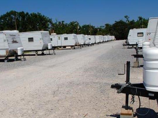 FEMA trailers line a street near downtown Biloxi. The