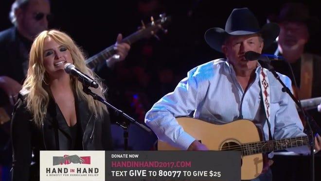 Miranda Lambert and George Strait perform in San Antonio during the 'Hand in Hand' telethon
