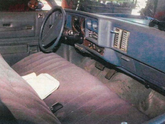 A police photograph of Ernesto Martinez's stolen Chevrolet Monte Carlo, taken in 1995, shows the vehicle's ignition switch intact. Martinez found this photo in California discovery documents, but has used it to bolster his appeal in Arizona, where police have previously testified that the car's ignition switch was missing.