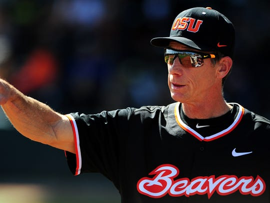 Oregon State head coach Pat Casey outside the dugout against Oregon at PK Park, on Sunday, April 12, 2015, in Eugene.