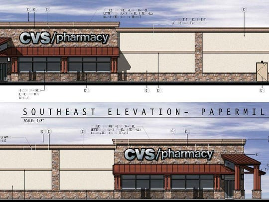 A rendering of the proposed CVS in Pike Creek is shown. Developers want to build the store at Paper Mill and Corner Ketch roads and agreed to the facade plan after discussions with local civic groups.