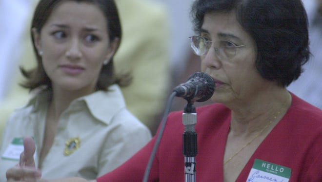 In this December 2003 file photo, Carmen Kasperbaur, 68, of Dededo, right, testifies during a hearing of the War Claims Review Commission about how the Japanese mistreated her family during the occupation of Guam.