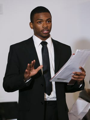 Quintez Brown, 17, spoke during a community town hall meeting at the Glassworks building to discuss the controversy surrounding Manual High School principal Jerry Mayes.  Brown is president of the Black Student Union at Manual which has called for Mayes' removal.Nov. 16, 2017