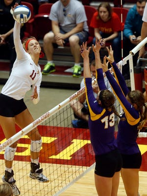 Ciara Capezio of Iowa State spikes the ball in a game against Northern Iowa in Ames on Wednesday, Sept. 16, 2015.