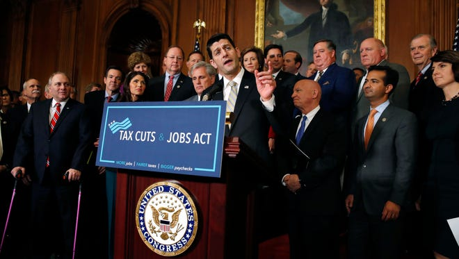 House Speaker Paul Ryan with other Republican representatives on Nov. 16, 2017.