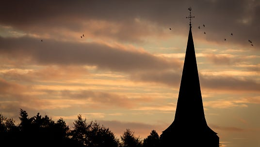 Church with sunset