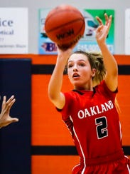 Oakland's Faith Adams fires a shot during Tuesday's 48-41 win over Blackman. Adams scored 10 in the win.