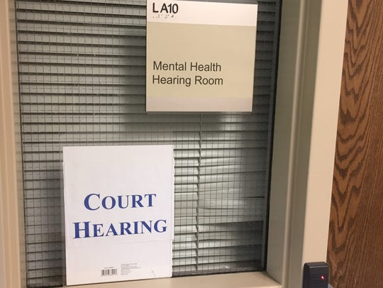 Mental health commitment hearings are held four times a week in a drab courtroom at Broadlawns Medical Center.