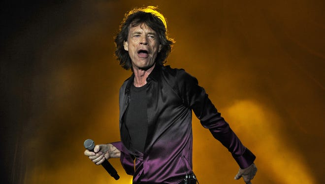 Mick Jagger struts the stage as  the Rolling Stones perform at LP Field (now Nissan Stadium) on June 17, 2015, in Nashville.