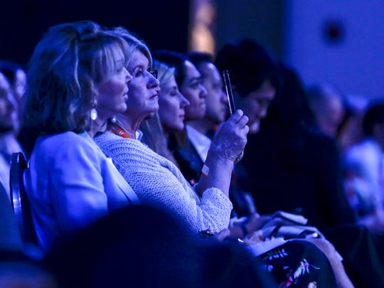 Martha Stewart, second from left, records the keynote with her phone during Gateway '17 at Cobo Center, Tuesday, June 20, in Detroit.