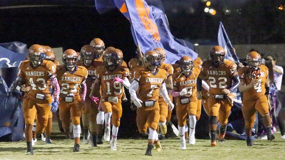 The Riverside Rangers take to the field in their Homecoming game against Hanks.
