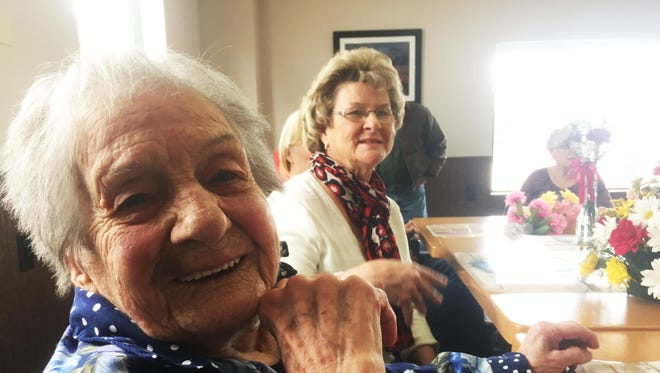 Helen Taskila was all smiles at her 104th birthday party in White Sulphur Springs.