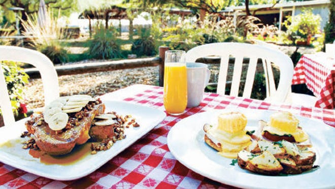 Pecan French toast and a vegetable quiche from Morning Glory Cafe at The Farm at South Mountain in Phoenix.