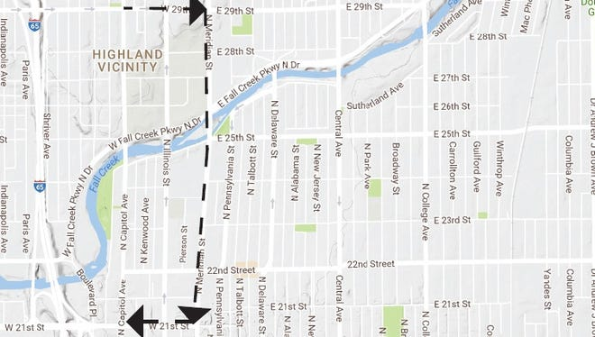 Pictured is the detour the Indianapolis Department of Public Works will use during the Capitol Avenue bridge closure.
