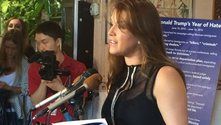 Former Miss Universe Alicia Machado speaks during a