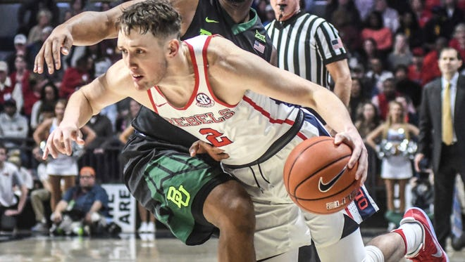 Ole Miss guard Cullen Neal struggled during the Rebels' 78-75 loss to Baylor on Saturday.