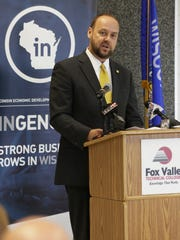 UW-Oshkosh Chancellor Andrew Leavitt talked about Initiative 41 and how will help to foster and bolster business programs within the region Tuesday, Aug. 23, 2016, during the $3.1 million grant announcement at Fox Valley Technical College — Oshkosh Riverside Campus. The East Central Wisconsin Regional Planning Commission and 20 partners will benefit from the grant to create economic diversity in the region.