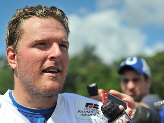 Pat McAfee, punter, talks with reporters at the Indianapolis Colts Training Camp at Anderson University on Friday, Aug. 17, 2012.  McAfee had to make a 59-yard field goal for practice to end but he pulled it left with all his team mates screaming in his ear before making a 38-yard field goal to close the training camp.(Kenneth L. Hawkins Jr./ The Star)
