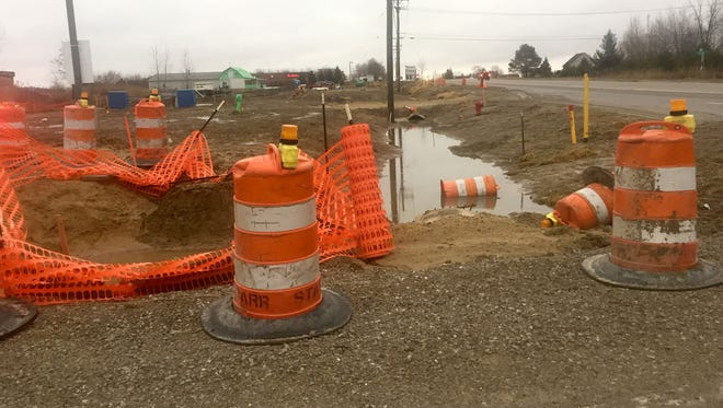 January 2017 shots of the area that was the focus of emergency sewer repairs in 2016 along 26 Mile in Lenox Township. A company that did the emergency repairs is suing Macomb County and its public works department for non-payment for the emergency repairs.