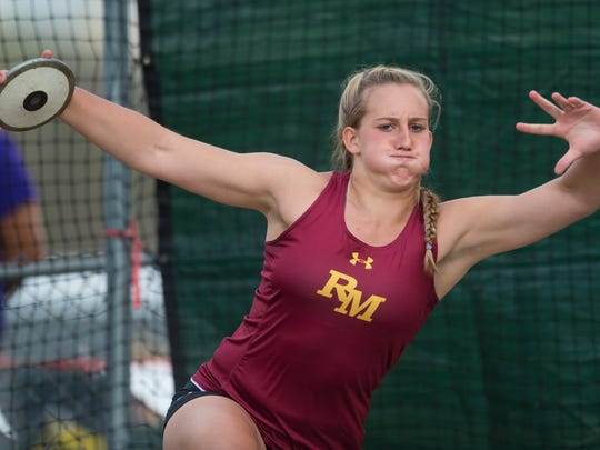 Rocky Mountain High School's Gabi McDonald competes in the discus event during the CHSAA State Track and Field Championships at JeffCo Stadium in Lakewood on Sunday, May 21, 2017.
