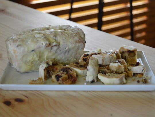 Pistachio and cherry stollen bread made by Dru Tevis