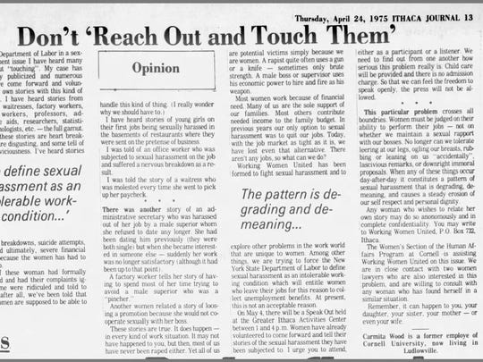 An opinion column from Carmita Wood that appeared in the April 24, 1975 edition of the Ithaca Journal.