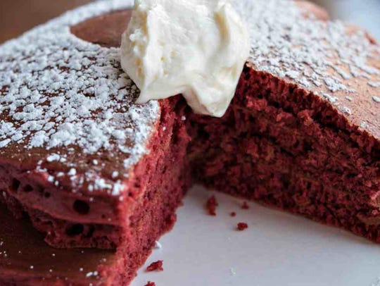 Red velvet pancakes with cream cheese icing at Toast