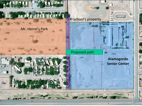 This map shows the location of the path from Centennial Village to the Alamogordo Senior Center.