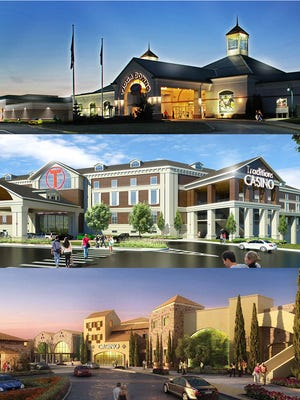 Renderings of the planned casinos. From top, Tioga Downs, Traditions and Lago Resort and Casino.