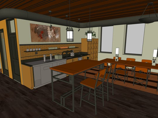 Work Lofts on Prospect Avenue has a coffee bar and kitchen space.