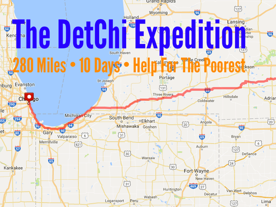 The header for the group's Facebook page shows the 280-mile route they will run from Detroit to Chicago.