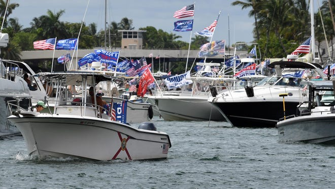 President Trump supporters celebrate his birthday with a boat gathering at Lake Boca Raton on Saturday, June 14, 2020.
