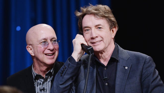 "Martin Short, right, and ""Late Show with David Letterman"" musical director Paul Shaffer are seen during ""The Night Of Too Many Stars"" telethon in March."
