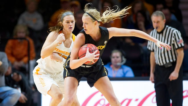 Tennessee's Alexa Middleton defends Missouri's Sophie Cunningham during an NCAA basketball game between Tennessee and Missouri at Thompson-Boling Arena on Thursday, February 9, 2017.