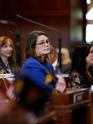 Sen. Sara Gelser, D-Corvallis, listens to one of her