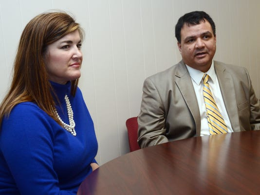 ANI Cenla Tech Heather Poole (left), the new executive director of student services at Central Louisiana Technical and Community College, and Jimmy Sawtelle, the acting chancellor of CenLa Tech discuss the goals they have for the school Wednesday, Jan. 7,