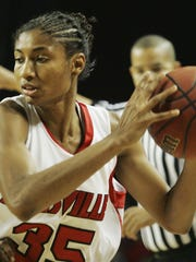 Former Louisville star Angel McCoughtry during her time at Louisville.
